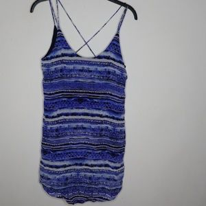 Rory Beca Blue %100 Silk Tunic Tank Top